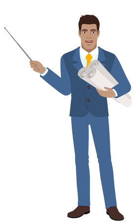 diaspora: Businessman holding the project plans and holding a pointer.  Full length portrait of Black Business Man in a flat style. Vector illustration.