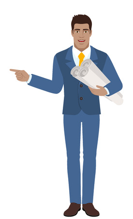 diaspora: Businessman holding the project plans and pointing something beside of him. Full length portrait of Black Business Man in a flat style. Vector illustration. Illustration