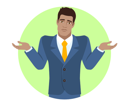 diaspora: I dont know. Businessman with an I dont know gesture. Portrait of Black Business Man in a flat style. Vector illustration.