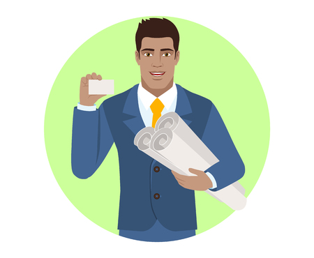 Businessman holding the project plans and showing the business card. Portrait of Black Business Man in a flat style. Vector illustration. Illustration