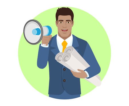 diaspora: Businessman with loudspeaker holding the project plans. Portrait of Black Business Man in a flat style. Vector illustration.