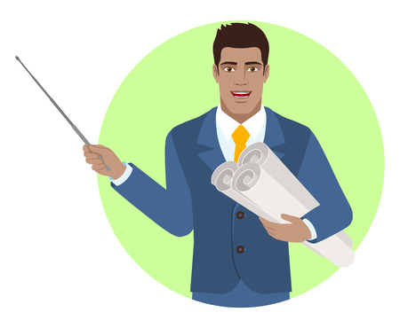 Businessman holding the project plans and holding a pointer. Portrait of Black Business Man in a flat style. Vector illustration.