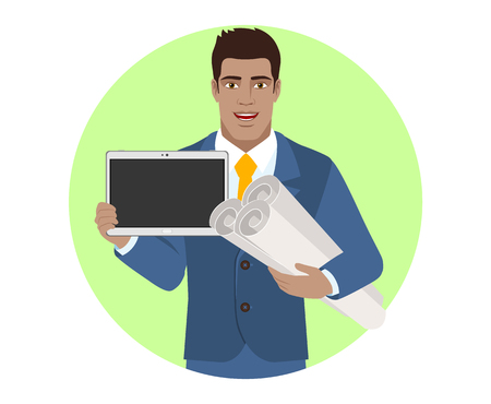 Businessman holding the project plans and showing blank digital tablet PC. Portrait of Black Business Man in a flat style. Vector illustration.