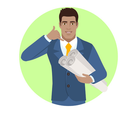 Call me! Businessman holding the project plans and showing a call me sign. Portrait of Black Business Man in a flat style. Vector illustration. Illustration