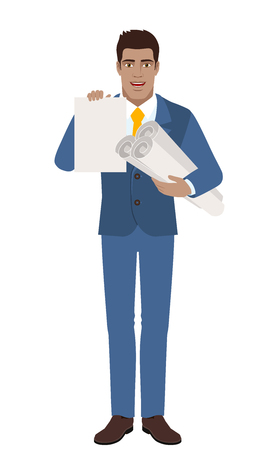 Businessman holding the project plans and paper. Illustration