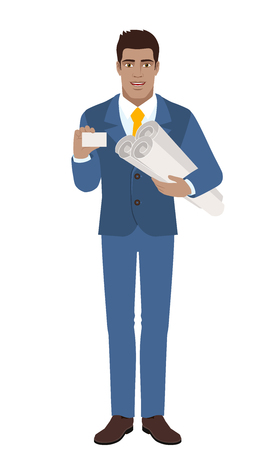 diaspora: Businessman holding the project plans and paper. Illustration