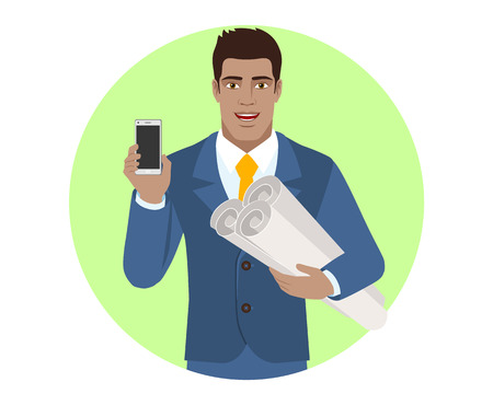 diaspora: Businessman holding the project plans and showing mobile phone Vector illustration.