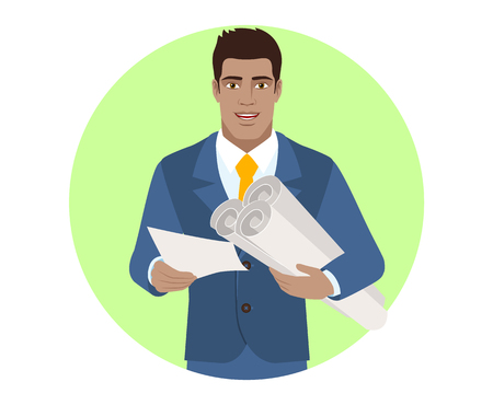 diaspora: Businessman holding the project plans and paper. Portrait of Black Business Man in a flat style. Vector illustration.