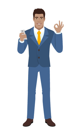 diaspora: Businessman with mobile phone showing a okay hand sign. Full length portrait of Black Business Man in a flat style. Vector illustration. Illustration