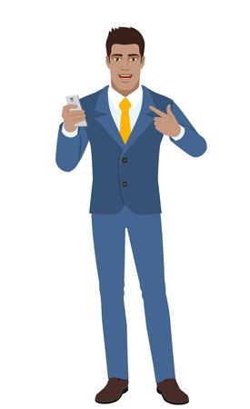 diaspora: Self-promotion. Businessman with mobile phone pointing at himself. Full length portrait of Black Business Man in a flat style. Vector illustration.