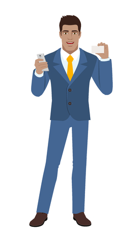 diaspora: Businessman with mobile phone showing the business card. Full length portrait of Black Business Man in a flat style. Vector illustration. Illustration