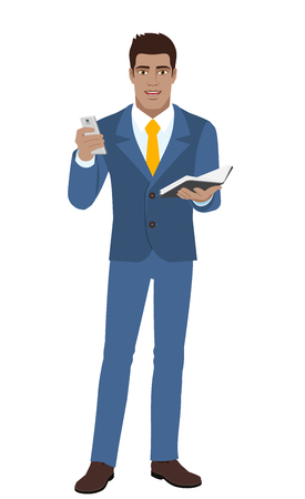 Businessman with mobile phone and organizer. Full length portrait of Black Business Man in a flat style. Vector illustration.