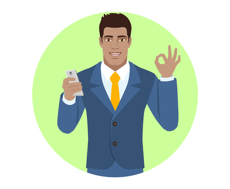 all ok: Businessman with mobile phone showing a okay hand sign. Portrait of Black Business Man in a flat style. Vector illustration.