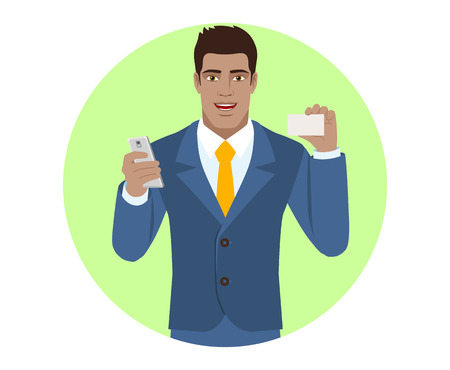 Portrait of black businessman with mobile phone showing the business card in a flat style vector illustration.