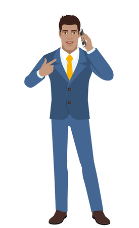 diaspora: Businessman pointing his finger at the mobile phone vector Illustration