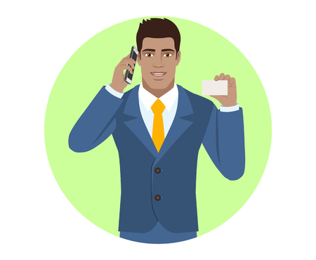 diaspora: Businessman talking on the mobile phone and showing the business card. Portrait of Black Business Man in a flat style. Vector illustration.