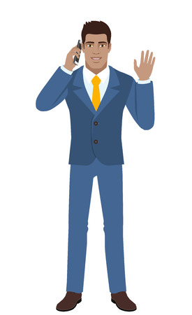 Businessman talking on the mobile phone and greeting someone with his hand raised up. Full length portrait of Black Business Man in a flat style. Vector illustration.