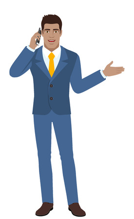 Businessman talking on the mobile phone and showing something beside of him. Full length portrait of Black Business Man in a flat style. Vector illustration.
