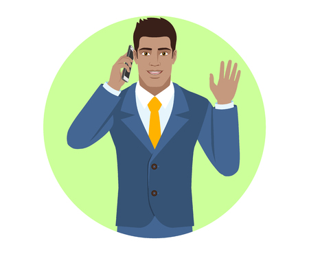 Businessman talking on the mobile phone and greeting someone with his hand raised up. Portrait of Black Business Man in a flat style. Vector illustration.