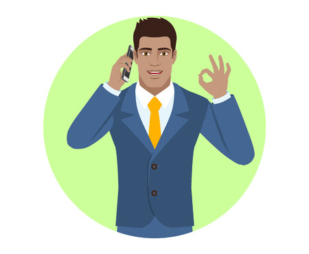 Businessman talking on the mobile phone and showing a okay hand sign. Portrait of Black Business Man in a flat style. Vector illustration. Ilustrace