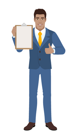 Businessman holding the clipboard and showing thumb up. Full length portrait of Black Business Man in a flat style. Vector illustration.