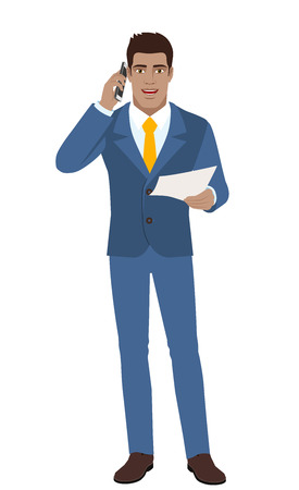 Businessman with paper talking on the mobile phone. Full length portrait of Black Business Man in a flat style. Vector illustration.