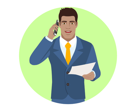 Businessman with paper talking on the mobile phone. Portrait of Black Business Man in a flat style. Vector illustration. Ilustrace