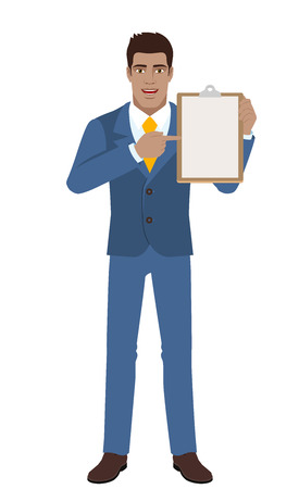Businessman pointing at a clipboard. Full length portrait of Black Business Man in a flat style. Vector illustration. Illustration