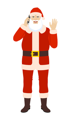 Santa Claus talking on the mobile phone greeting someone with his hand raised up. Full length portrait of Santa Claus in a flat style. Vector illustration.