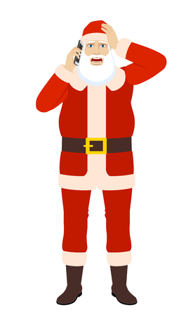 Santa Claus talking on the mobile phone and grabbed his head. Full length portrait of Santa Claus in a flat style. Vector illustration. Illustration