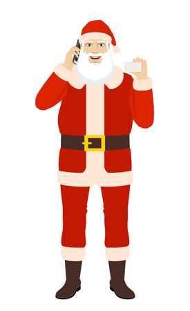 Santa Claus talking on the mobile phone and showing the business card. Full length portrait of Santa Claus in a flat style. Vector illustration.