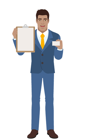 Businessman holding the clipboard and showing the business card. Full length portrait of Black Business Man in a flat style. Vector illustration. Illustration