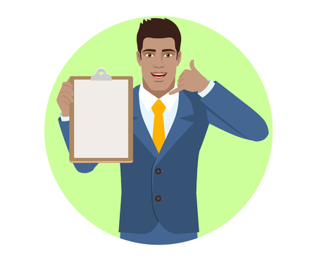 Businessman holding the clipboard and showing a call me sign. Portrait of Black Business Man in a flat style. Vector illustration. Illustration