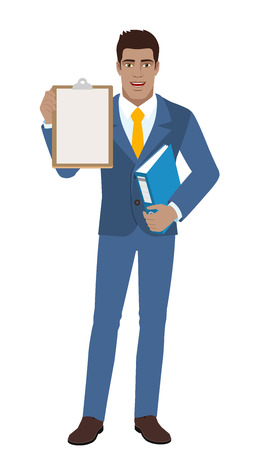 Businessman holding the clipboard and folder. Full length portrait of Black Business Man in a flat style. Vector illustration.