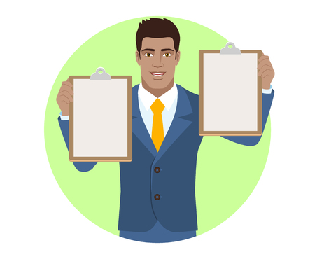 Businessman holding two clipboards. Portrait of Black Business Man in a flat style. Vector illustration.