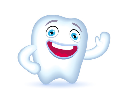 Cartoon tooth character waving hand in greeting.