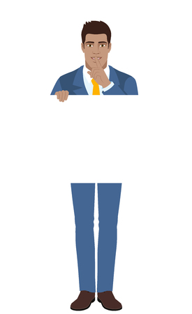 Businessman holding white blank poster and making hush sign. Full length portrait of Black Business Man in a flat style. Vector illustration.