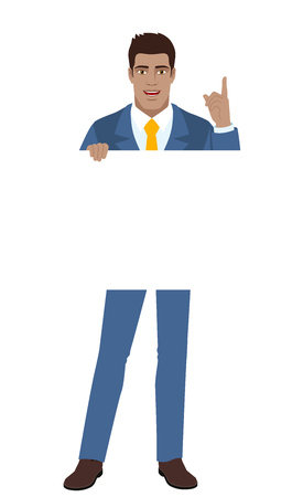 Businessman holding white blank poster and pointing up. Full length portrait of Black Business Man in a flat style. Vector illustration. Illustration
