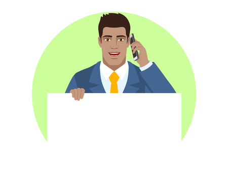 Businessman holding white blank poster and talking on the mobile phone. Portrait of Black Business Man in a flat style. Vector illustration.