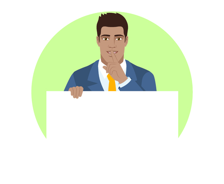 Businessman holding white blank poster and making hush sign. Portrait of Black Business Man in a flat style. Vector illustration.