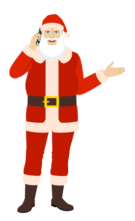Santa Claus talking on the mobile phone and showing something. Full length portrait of Santa Claus in a flat style. Vector illustration.