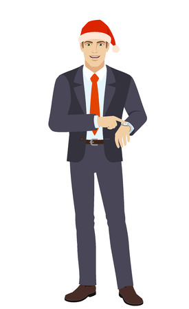 Businessman in Santa hat pointing at his watch. Full length portrait of businessman in a flat style. Vector illustration.