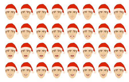 Emotions set. Man in the Santa hat with different emotions and facial expressions. Portrait of businessman character in a flat style. Vector illustration. Illustration