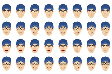 Emotions set of man wearing a cap and eyeglasses.