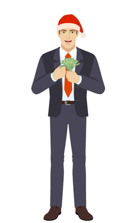 Businessman in Santa hat counts the money. Full length portrait of businessman in a flat style. Vector illustration.