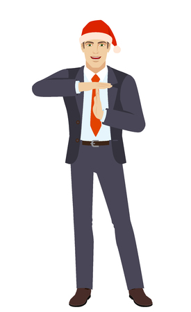 Christmas or New Year Holidays. Businessman in Santa hat showing time-out sign with hands. Body language. Full length portrait of businessman in a flat style. Vector illustration.
