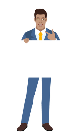 Businessman holding white blank poster and pointing at himself. Full length portrait of Black Business Man in a flat style. Vector illustration.