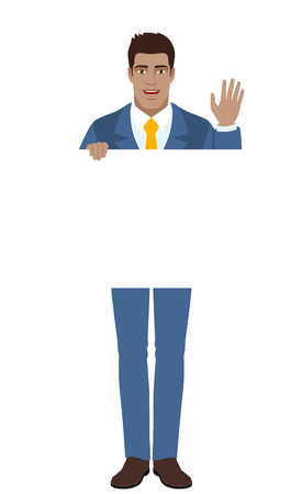 Businessman holding white blank poster and greeting someone with his hand raised up. Full length portrait of Black Business Man in a flat style. Vector illustration. Illustration
