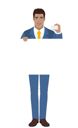 Businessman holding white blank poster and showing the business card. Full length portrait of Black Business Man in a flat style. Vector illustration. Illustration
