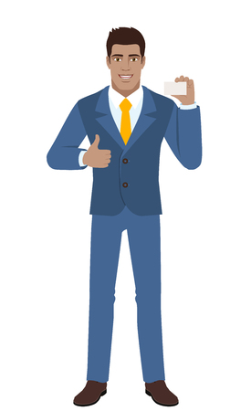 Businessman showing thumb up and showing the business card. Full length portrait of Black Business Man in a flat style. Vector illustration. Illustration
